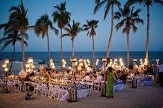 Beach wedding dinner party