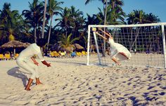 This would be us, playing soccer on our wedding day!