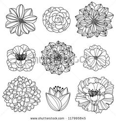Flowers Drawing Flower Silhouettes 3 Clipart Clip Art, Flower Clip Art Clipart - Commercial and Personal Use -