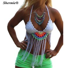 2016 Crochet Tassel Brazilian Bikini Swimwear Women Push up Swimsuit White Straps Handmade Knitted Beach Wear Bikinis Tops
