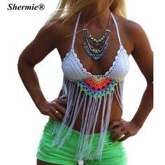 2016 Crochet Tassel Brazilian Bikini Swimwear Women Push up Swimsuit White Straps Handmade Knitted Beach Wear Bikinis Tops