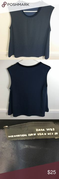"""ZARA Medium sleeveless top velvet collar Velvet trim collar and navy blue contrasting geometric squared patterning against black fabric Black chiffon style fabric to the front and navy blue semi sheer finish to the back of the top.   18"""" cross chest 22"""" length   📦Bundle your likes 📬Same or next day ship 🙅🏻Sorry no trades 💰All prices are negotiable Zara Tops Blouses"""