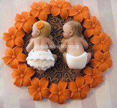 Twins girl boy  baby Shower First Birthday FONDANT  BOY Cake Topper Baptism Christening Favor 1st Birthday