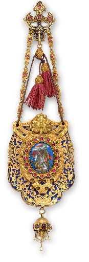 AN ANTIQUE GOLD, RUBY, ENAMEL AND PEARL COIN PURSE