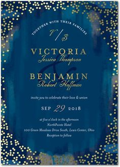 Spectacular Specks - Signature Foil Wedding Invitations - Petite Alma - Baltic - Blue : Front
