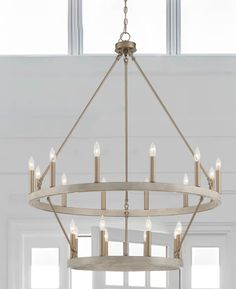 Dining Lighting, Pendant Lighting, Ceiling Fans, Ceiling Lights, Brushed Nickel Chandelier, Wagon Wheel Chandelier, Distressed Painting, Wood Accents, How To Distress Wood