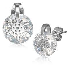 Nemesacél Fülbevaló Cirkóniával - Hópehely Mintával Stainless Steel Snowflake Stud Earring /w Zircon 3490 HUF