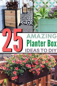 Check out these amazing DIY planter box ideas! They all have plans to make building a planter box even easier! Perfect for a balcony, deck or front porch! Garden Wall Planter, Pallet Planter Box, Vertical Garden Wall, Wooden Planter Boxes, Succulent Planter Diy, Succulents Garden, Tall Outdoor Planters, Railing Planters, Window Planters