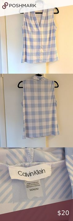 Calvin Klein Checkered Blouse Sleeveless blouse, light airy fabric. Great for summer business casual work settings or under a neutral suit blazer for a more formal professional look. Calvin Klein Tops Blouses