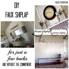 Faux Shiplap: DIY Sharpie Shiplap and Painted Shiplap Tutorial