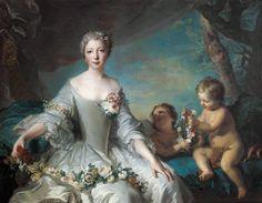 """Jean Marc Nattier """"Portrait presumed to be Louise Diane d'Orleans (1716-36) as Flora"""""""
