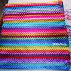 Second repeat of 18 colours done  #crochetblanket #attic24sunnyyarnpack #attic24sunnycal #grannystripes #grannystripeblanket #attic24 #stylecraft #stylcraftspecialdk by craftsadore2
