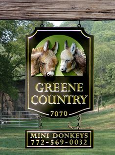 Greene Country Farm Sign - The lettering is all carved & gilded. The donkey heads are sculpted & artist-painted. See more of our handcrafted farm signs on www.danthoniadesigns.com