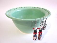 Earring Holder, earring bowl, mint green earring holder, handmade ceramic pottery