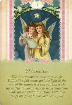 "Daily Angel Oracle Card: Celebration, from the Guardian Angel Oracle Card deck, by Doreen Virtue Ph.D and Radleigh Valentine Celebration: ""This is a wonderful time in your life. Difficulties fall a. Chakra Healing, Angel Protector, Namaste, Angel Guidance, Spiritual Guidance, Angel Quotes, Angel Prayers, Oracle Tarot, Angels Among Us"