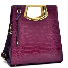 Tall Structured Croc Tote with Frame handles Only Sold {product_price} - fashlets.com