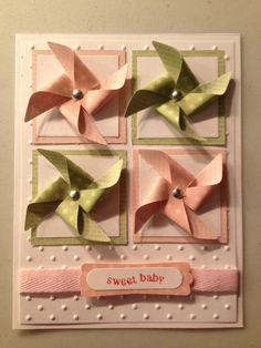 Pinwheel baby girl card