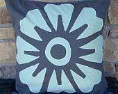 Mint Flower on Grey Fabric Pillowcase