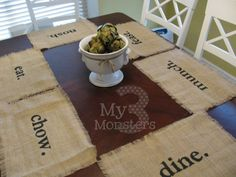 My 3 Monsters: Day 25: Stenciled Burlap Placemats - instead maybe I would do the word eat in different languages... like from the places I want to visit :)