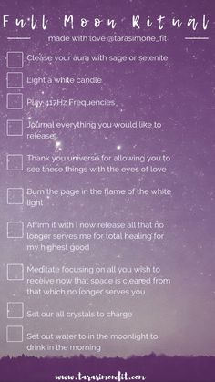 new moon ritual Want to celebrate a full moon ceremony but not sure what to do? Heres a full moon ritual checklist to help beginner witches and spiritual babes release negative energy a Full Moon Spells, Full Moon Ritual, Full Moon Tea, Full Moon Meditation, Magick Spells, Witchcraft, The Witcher, Tarot, New Moon Rituals