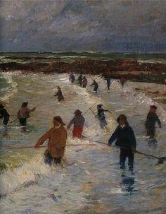 """Henri Moret, """"Pêcheurs de goémon à Larmor-plage"""""""
