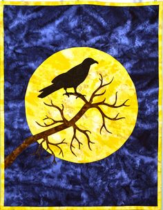 Crow on Harvest Moon.Quilted Wallhanging using my Silhouette Cameo cutter.  I can make a Custom Keepsake quilt for you.   Email to DebbieLangeQuilting@gmail.com. www.DebbieLangeQuilting.blogspot.com. Facebook: Debbie Lange Quilting. Pinterest: Debbie Lange Quilting.