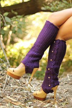 Leg Warmers with Stirrups in Deep Purple Crochet Boot Cuffs, Crochet Leg Warmers, Crochet Boots, Crochet Gloves, Purple Love, All Things Purple, Deep Purple, Thigh High Leg Warmers, Diy Vetement