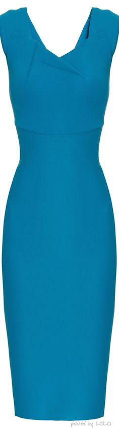 Roland Mouret Blue Alnair Doube Faced Sl Dress