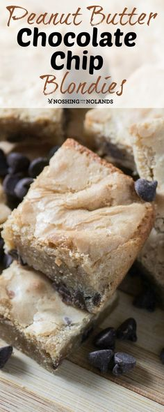 Peanut Butter Chocolate Chip Blondies by Noshing With The Nolands are a moist and delicious treat that are easy to make. Perfect for the lunch box or as an after school snack!