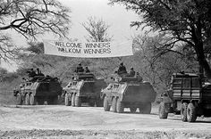 Victor's banner: John Liebenberg's photograph showing an SADF convoy entering Namibia, August 1988