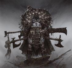 Medieval, Dark Fantasy Art, Dark Art, Demon Art, Dungeons And Dragons Homebrew, Fantasy Monster, Art Station, Barbarian, Horror Art