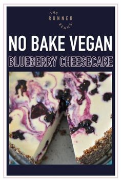 No Bake Vegan Blueberry Cheesecake has never been so easy or delicious! A silky smooth cream cheese filling topped with blueberry compote. Enjoy plain or with any desired toppings with no oven required. The perfect dessert for any season! Click & make a delightfully light and creamy No Bake Cheesecake that will blow your mind. Blueberry Compote, Vegan Blueberry, Blueberry Cheesecake, Healthy Food Habits, Good Healthy Snacks, Healthy Diet Recipes, Baking Recipes, Snack Recipes, Dessert Bars