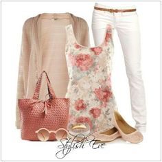 CHATA'S DAILY TIP: We adore the feminine feel of a pretty floral top. Combine with a 'below-the-bottom-length cardigan' in order to disguise fuller hips or a fuller bottom.  A co-ordinating coral bag perfectly showcases the coral print. COPY CREDIT: Chata Romano Image Consultant, Marlise du Plessis http://chataromano.com/consultant/marlise-duplessis/ IMAGE CREDIT: Stylish Eve #chataromano #imageconsultant #colour #style #fashion