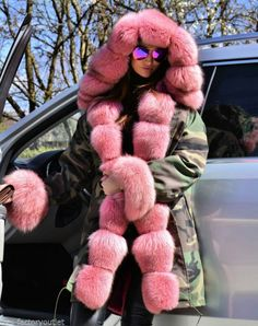 Adorable camo parka lined in pink fox fur - I would love something like this with faux (maybe ice blue) fur