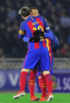 Lionel Messi is congratulated by teammate Neymar da Silva Santos Junior after scoring his team's first goal during the Spanish league football match Real Sociedad vs FC Barcelona at the Anoeta stadium in San Sebastian, on November Messi 2017, Messi And Neymar, Girls Football Boots, Football Match, Fc Barcelona, North American Soccer League, Neymar Pic, Soccer News, Soccer Stuff
