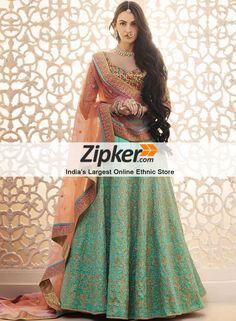 6b6e0864b4490 Orange and sky blue color designer lehenga choli. Choli Designs