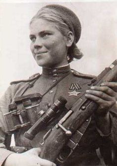 Women of the Soviet Union, Roza Georgiyevna Shanina was a Soviet sniper during World War II, credited with 54 confirmed kills, including 12 snipers during the Battle of Vilnius. Praised for her shooting accuracy, Shanina was capable of firing precise semi-automatic shots on moving enemy targets