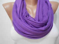 Purple Infinity Scarf Shawl, Violet Purple Loop Scarf, Purple Tube Scarf, Fashion Women Accessories, Gift For Her, ScarfClub