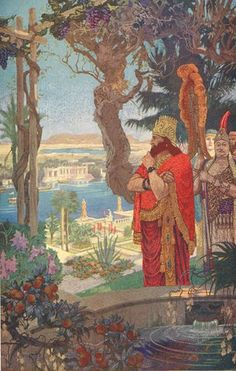 """In Greek times Babylon was famous for the hanging or terraced gardens of the """"new palace"""", which had been erected by Nebuchadnezzar II. These occupied a square which was more than a quarter of a mile in circumference. Great stone terraces, resting on arches, rose up like a giant stairway to a height of about three hundred and fifty feet, and the whole structure was strengthened by a surrounding wall over twenty feet in thickness. So deep were the layers of mould on each terrace that..."""
