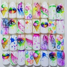Nail design here Photos Video Manicure lessons Summer Acrylic Nails, Best Acrylic Nails, Summer Nails, Neon Nail Designs, Nail Art Designs Videos, Pop Art Nails, Neon Nails, Cute Nails, Pretty Nails