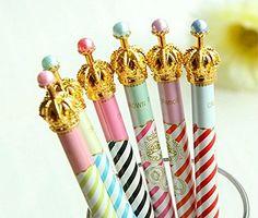 Onor-Tech Lot de 6adorables stylos à bille Motif couronne…