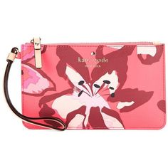 Kate Spade New York Slim Bee Floral Wristlet (455 HRK) ❤ liked on Polyvore featuring bags, handbags, clutches, surprise coral, wristlet handbags, floral print handbags, floral purse, wristlet purse and kate spade clutches