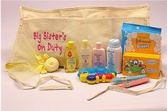 Included are: Baby Powder, Baby Shampoo, Baby Wash, Baby Lotion, Baby Wipes, Fun Bath Product, Baby Bath Toy, Lollipop Washcloth, and last - but not least  - two bubble gum cigars.