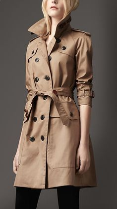 Burberry London Long Oversize Resinated Cotton Trench Coat