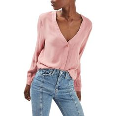 Women's Topshop Crop Slouch Pocket Blouse (£49) ❤ liked on Polyvore featuring tops, blouses, blush, pocket tops, cut-out crop tops, slouchy blouse, slouchy tops and topshop blouses