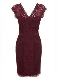 100 Christmas party dresses: burgundy lace dress from Oasis