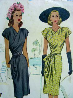 Vintage 1940s McCall Pattern 6755 - DRAMATIC Dress With ASYMMETRICAL Single Tier PEPLUM - 30 Bust. $28.60, via Etsy.