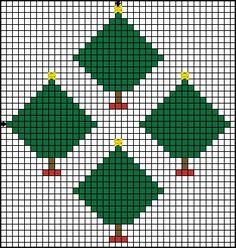 Free Cross Stitch Patterns - Simple Cross Stitch Patterns for Beginners: Free Cross Stitch Trees Motif Pattern - Free Printable Christmas Trees Chart