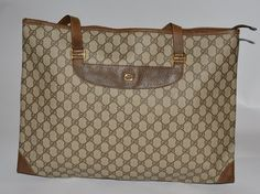 Gucci Vintage Gg Pattern Pvc Tote in Brown