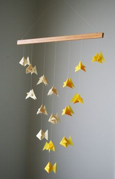 Origami Mobile - Goldfish School of Fish - Hanging Decor - Origami Paper Sculpture - Modern Mobile. $95.00, via Etsy.